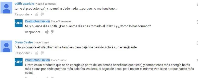 Comentarios y respuestas a dudas sobre los productos Fuxion en YouTube