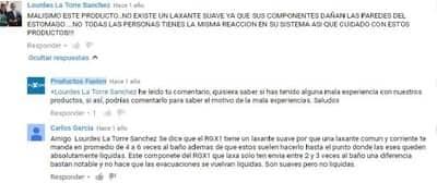 Comentario en YouTube desaconsejando el consumo de RGX1