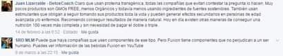 Un comentario, realizado en una página de Fuxion en Facebook, sospecha de la presencia de proteína transgénica en el producto