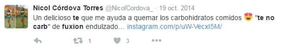 Comentarios en Twitter respaldando el Fuxion Té No Carb