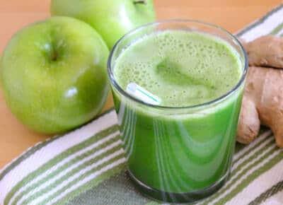 jugo de manzana, pepino y kion